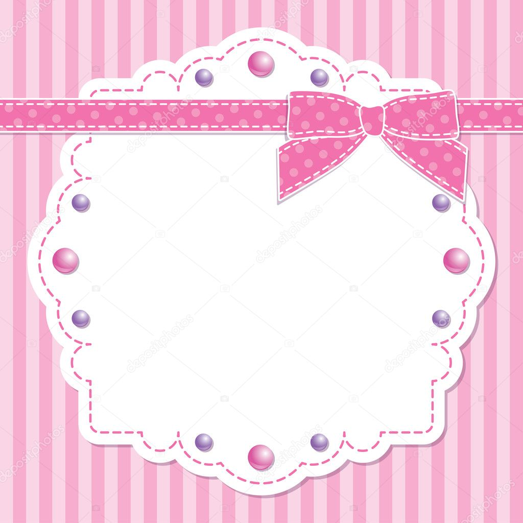 Pink Frame With Bow Stock Vector 169 Redcollegiya 10802487