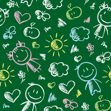Hand drawn seamless pattern with kids and summer symbols stock vector