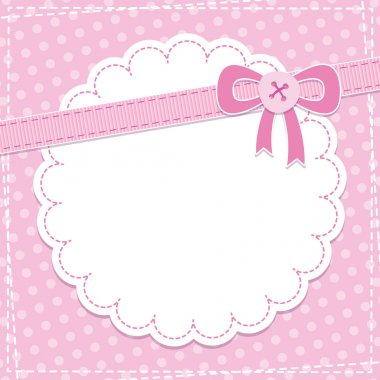 Baby frame with pink bow and button stock vector