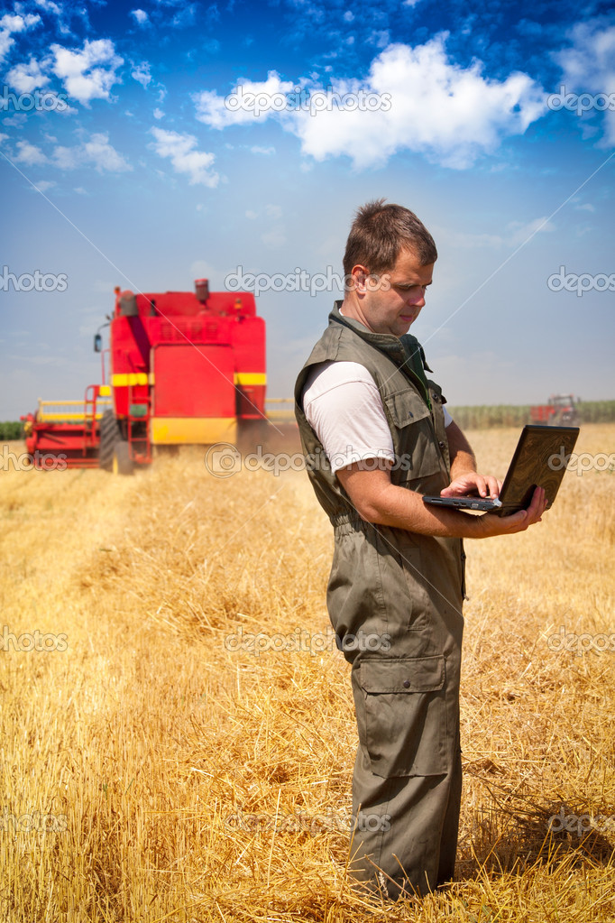 Farmer calculating earning in field