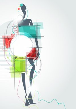 Fashion background. The abstract figure of a girl in a dress.