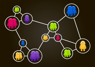 Social network concept. Vector illustration with colorful little men