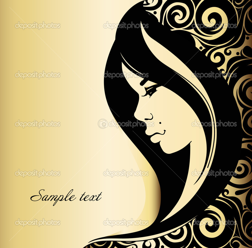 Fashion vector of beautiful woman on a gold background