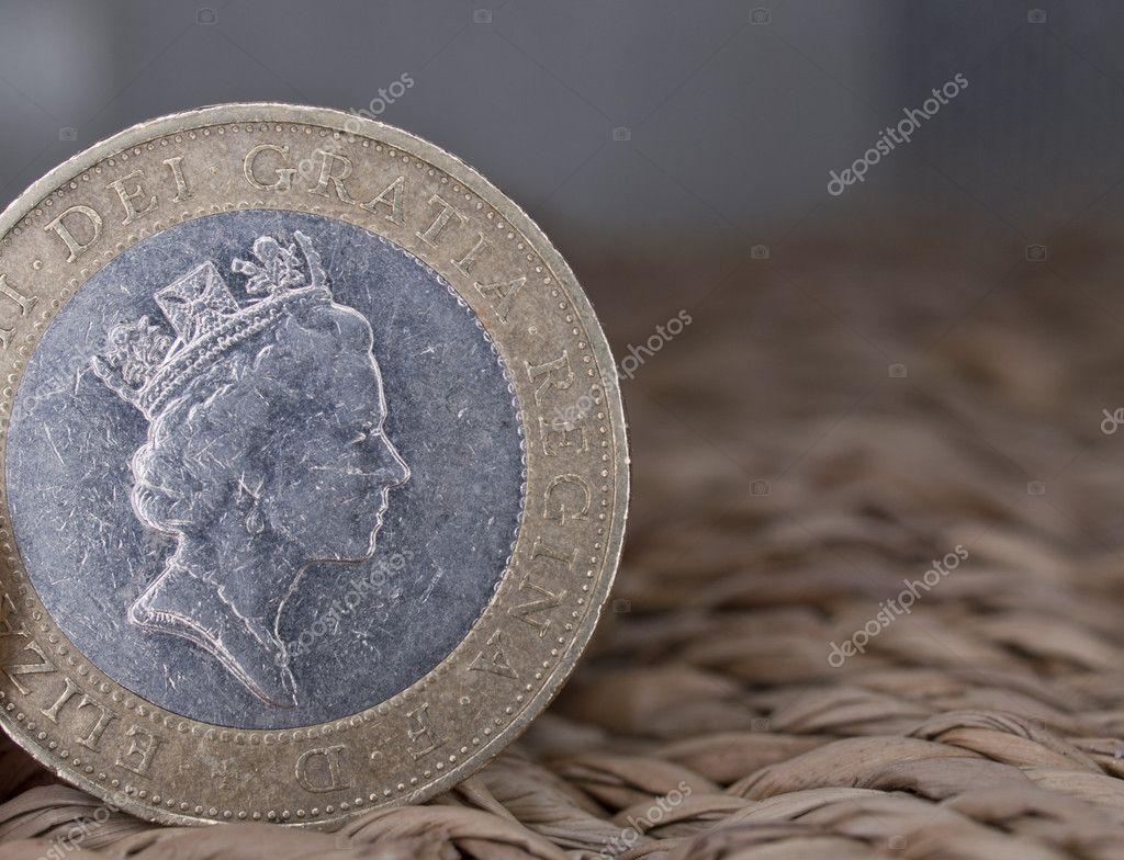 Nahaufnahme Der Britischen Währung 2 Pfund Münze Stockfoto