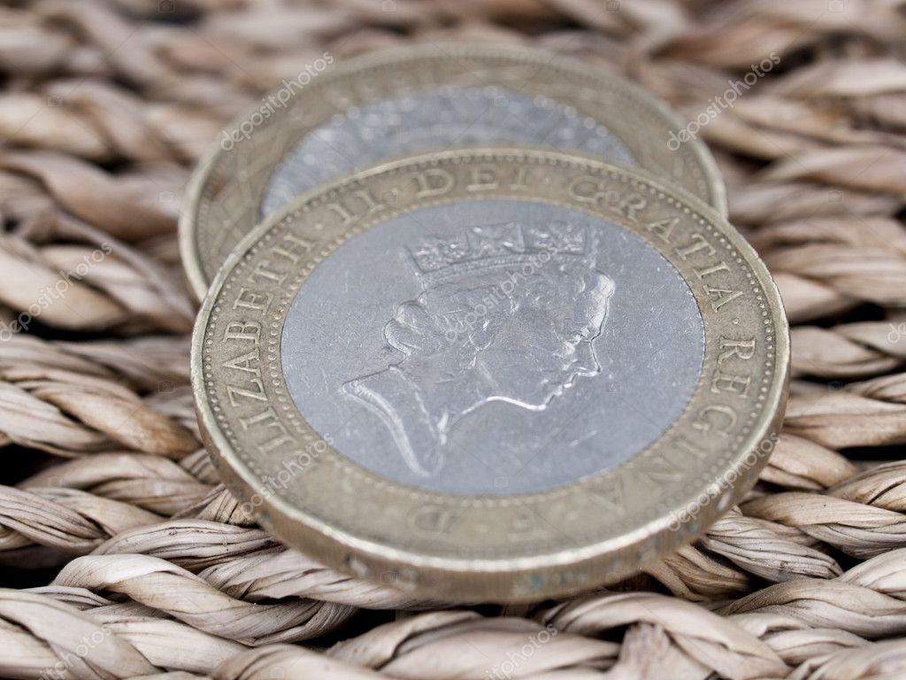 Nahaufnahme Der Britischen Währung 2 Pfund Münzen Stockfoto