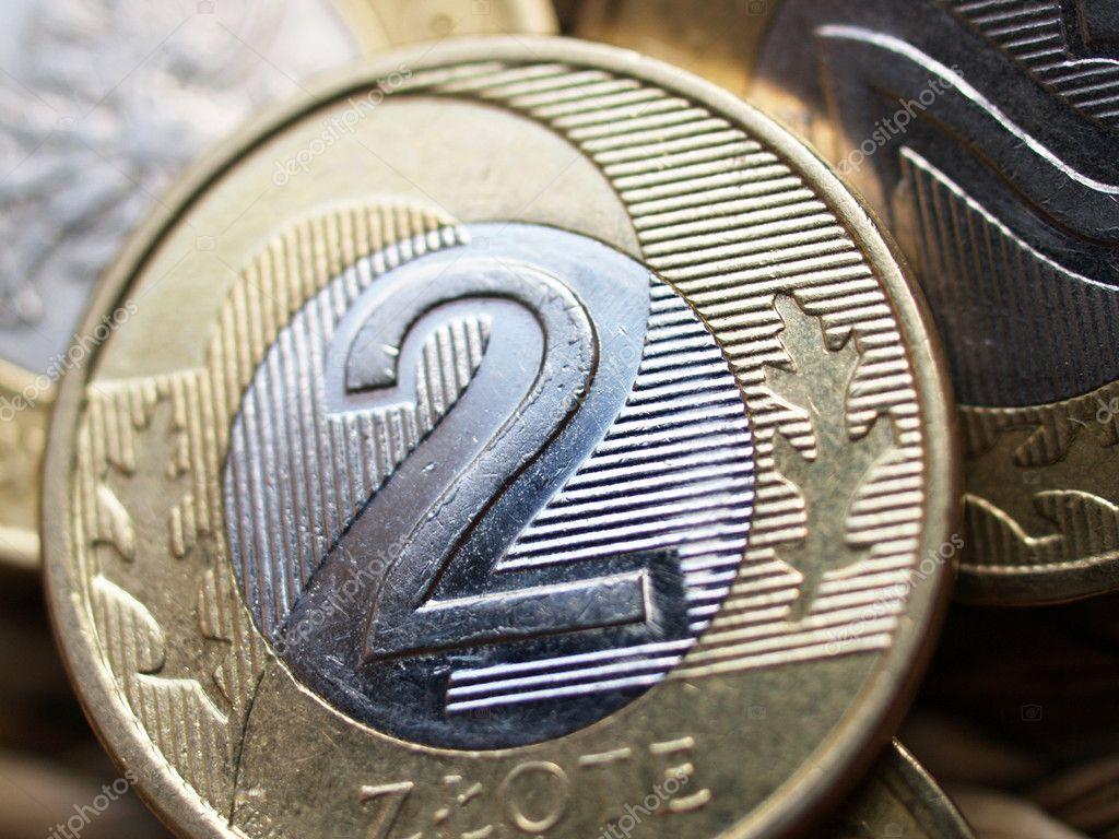 Polnische Währung 2 Zloty Münze Hautnah Stockfoto Andreshka1