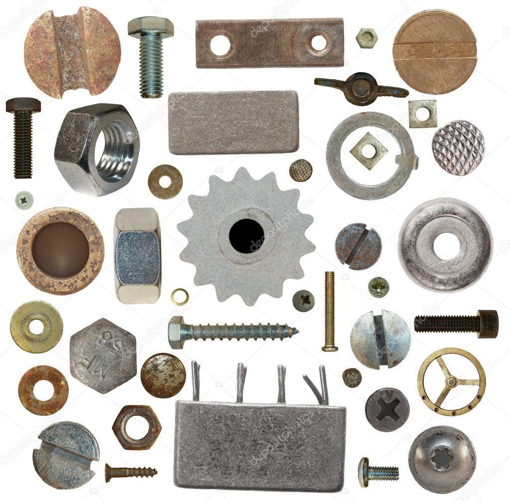 Sammlung alter Schraubenköpfe, Zahnräder, alten Meta, Schrauben ...