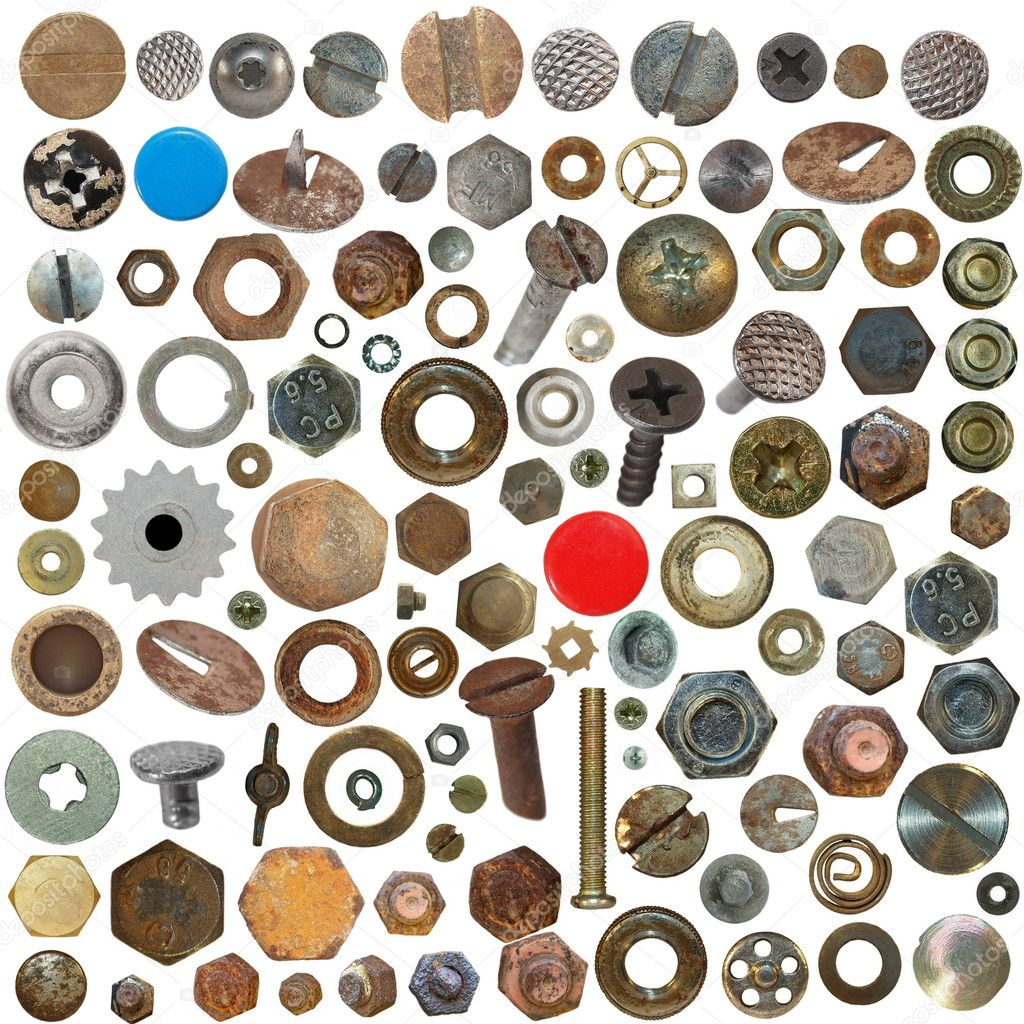 große Sammlung alte verrostete Schraubenköpfe, Schrauben, Stahl ...