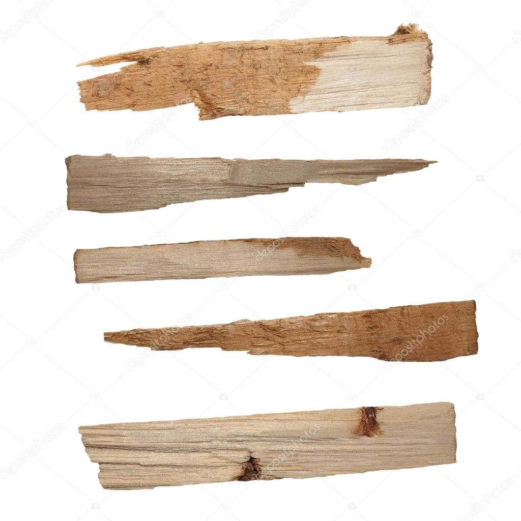 Collection pieces of broken planks of beech isolated on white background