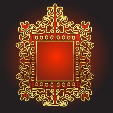 Vector golden frame with red wood