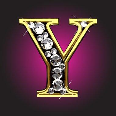 Vector golden figure with diamonds