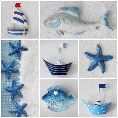 Collage with ships and sea stars