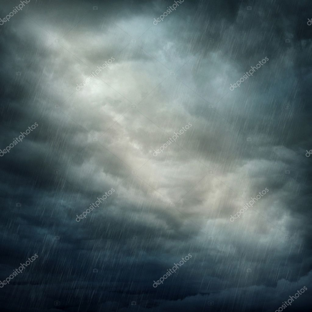 Dark clouds and rain