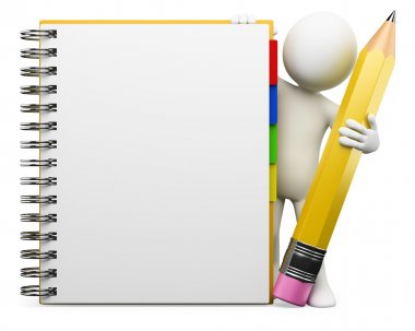 3D white . Notepad