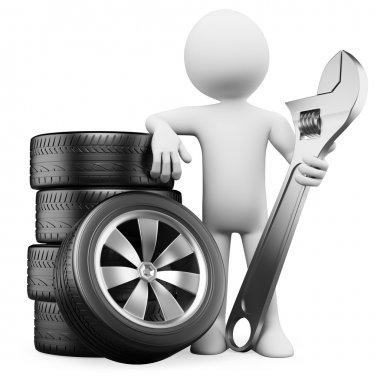 3D white . Car mechanic