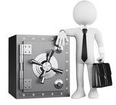 3D obchodní bílá. bankéř a bezpečné