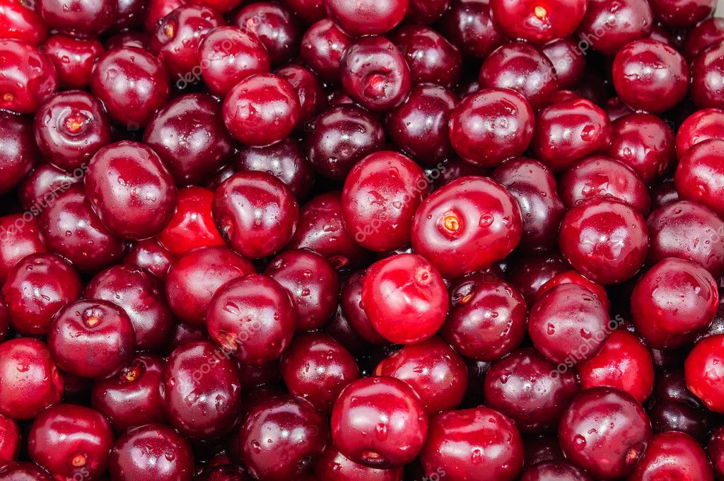 The background of red cherry fruit