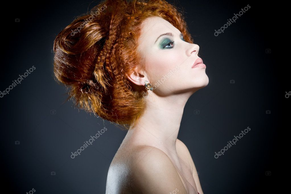 Beautiful Redhead Womans Profile Perfect Classy Hair Style And
