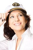 Fotografie closeup studiový portrét sexy mladé ženy v sailor cap