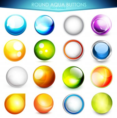 Set of colorful aqua buttons