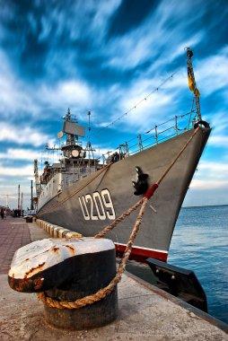 Russian battleship at the dock