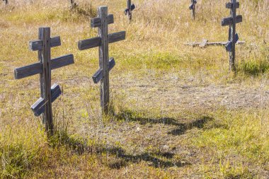Old wooden crosses at the historic orthodox cemetery of Fort Ross stock vector