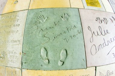 Handprints of Frank Sinatra in Hollywood Boulevard in the concre