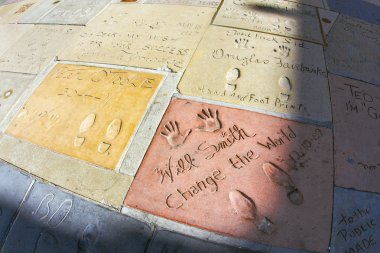 Handprints of Will Smith and Peter o Toole in Hollywood Boulevar