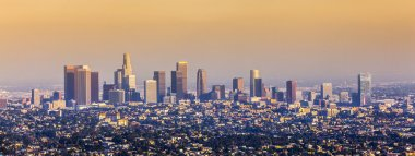 Aerial of Los Angeles in sunset