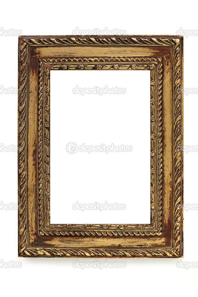 Gilded shabby chic picture frame over white stock photo for Peinture shabby chic