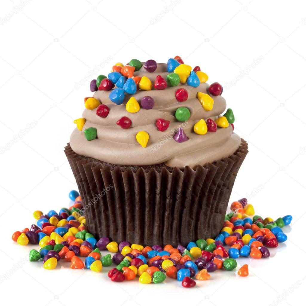 Chocolate Cupcake With Sprinkles Stock Photo C Robynmac 12262694