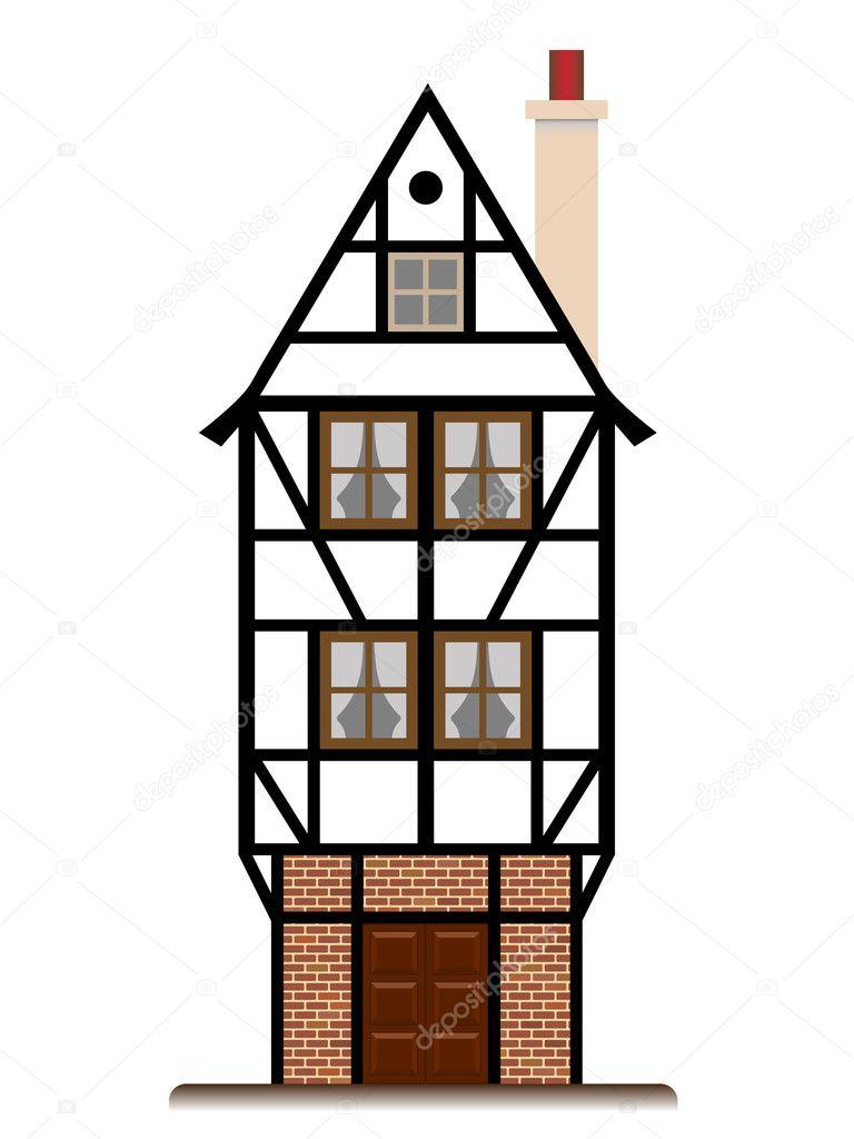Fachwerk Haus traditionelles Häuschen isoliert — Stockvektor ...