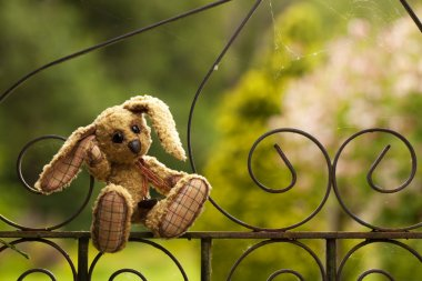 Small rabbit soft toy sitting in an iron fence, Author's work wi