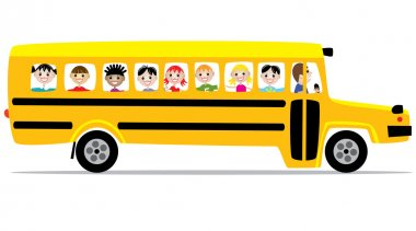 Vector school bus and children