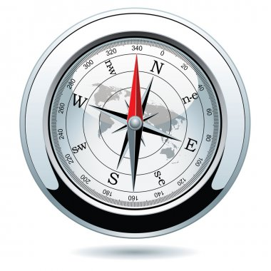 Vector shiny silver compass