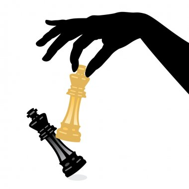 Vector playing chess game and defeating the king