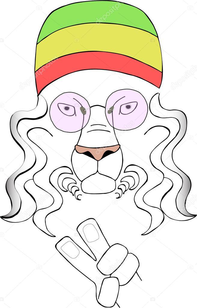 hippie de León — Archivo Imágenes Vectoriales © lapka #11235495