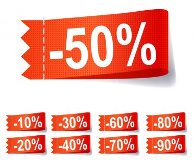 Set of discount labels illustration.