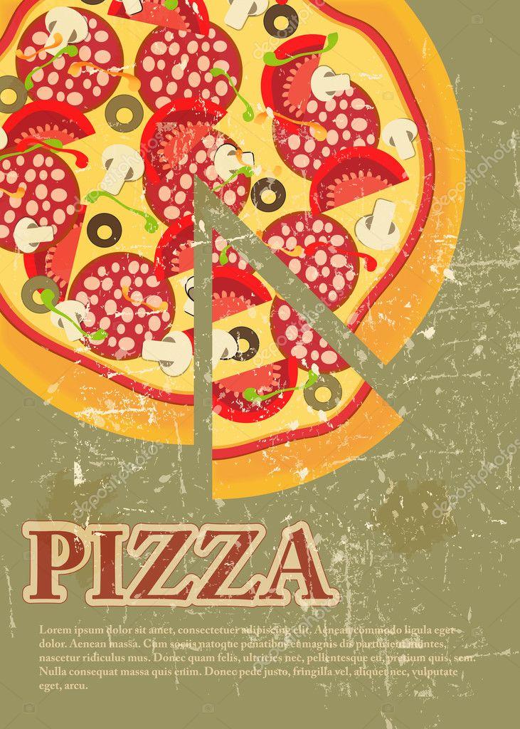 plantilla de menú de pizza en estilo grunge retro vintage — Fotos de ...