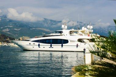 Luxury yacht in port. Budva. Montenegro