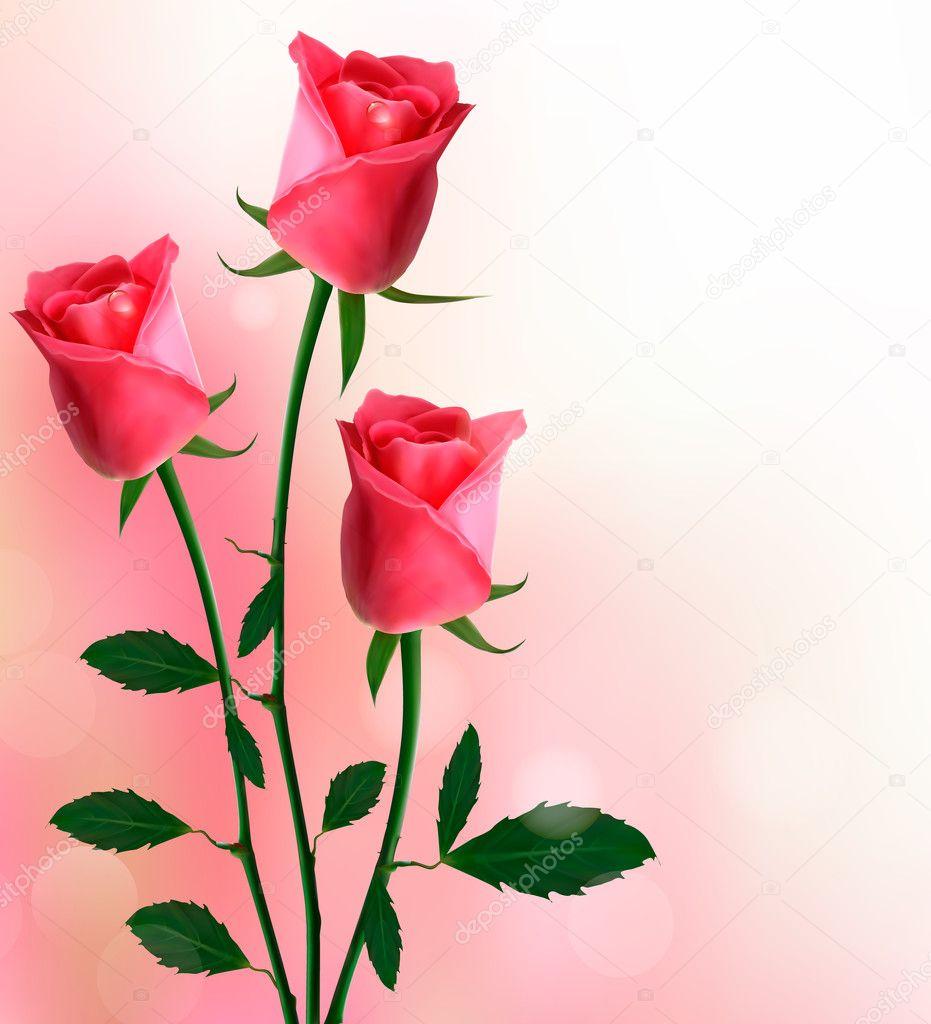 Fondo de vacaciones con hermosas rosas rojas vector - Rosas rosas hermosas ...