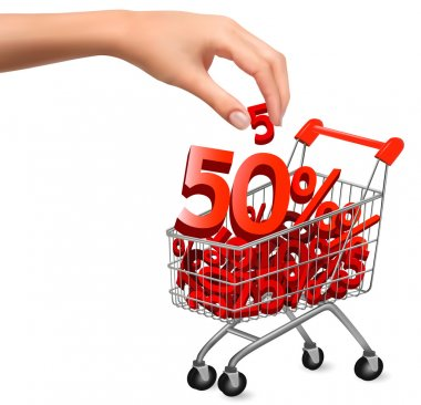 Concept of discount Shopping cart with sale Vector illustration