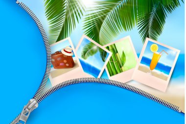 Background with photos from holidays on a seaside. Summer holidays concept.