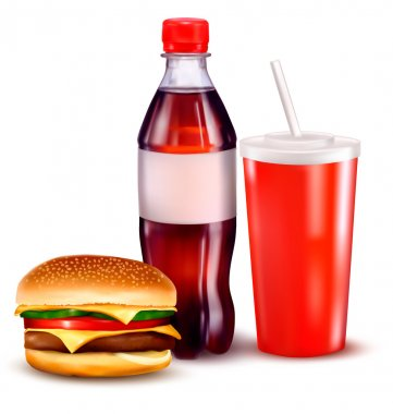 Hamburger and a bottle