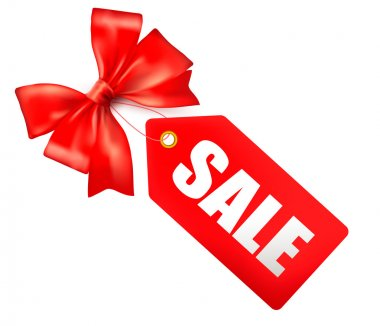 Sales tag with red gift bow