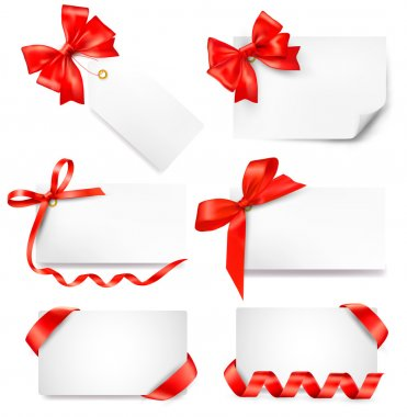 Set of card note with red gift bows with ribbons. Vector