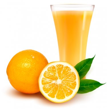 Fresh orange and glass with juice stock vector