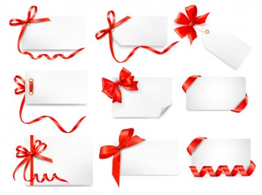 Set of card notes with red gift bows with ribbons Vector clip art vector