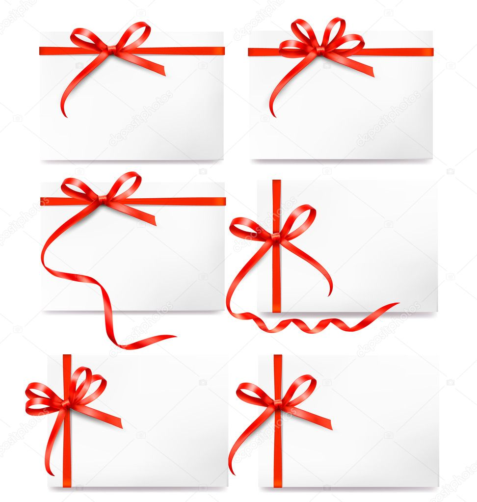Set of card notes with red gift bows with ribbons stock vector set of card notes with red gift bows with ribbons stock vector negle Image collections