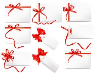 Set of card notes with red gift bows with ribbons Vector stock vector